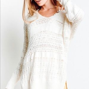 Free people long white over site sweater